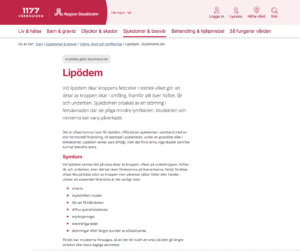 Infomationstext om Lipödem på 1177