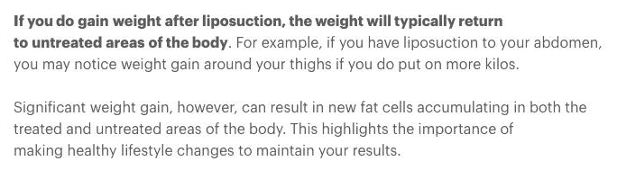 Studie om hur viktuppgång efter fettsugning ofta drabbar obehandlade områden